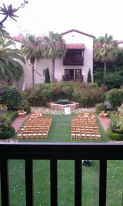 View of gardens from my seat at Estancia La Jolla
